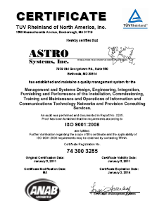ASTRO ISO Certification